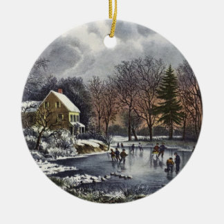 Vintage Christmas, Early Winter Skaters on Pond Christmas Ornament