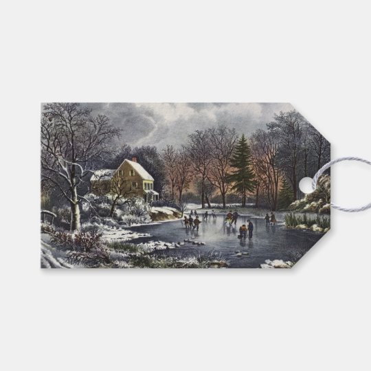 Vintage Christmas, Early Winter Skaters on Pond Gift