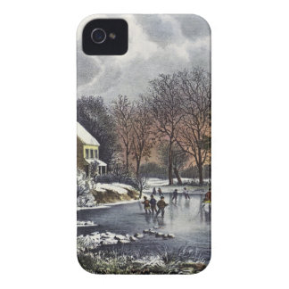 Vintage Christmas, Early Winter Skaters on Pond iPhone 4 Covers