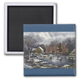 Vintage Christmas, Early Winter Skaters on Pond Magnet