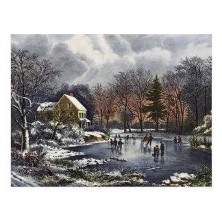 Vintage Christmas, Early Winter Skaters on Pond Postcard
