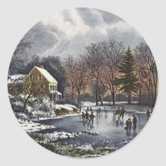 Vintage Christmas, Early Winter, Skaters on Pond Round Stickers