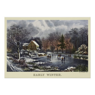 Vintage Christmas Early Winter with Ice Skaters Poster