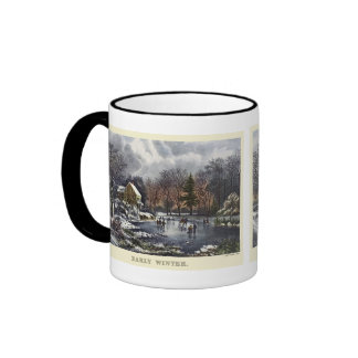 Vintage Christmas, Early Winter with Ice Skaters Ringer Mug