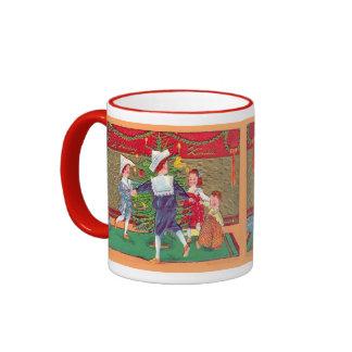 Vintage Christmas, Edwardian children dancing Ringer Mug