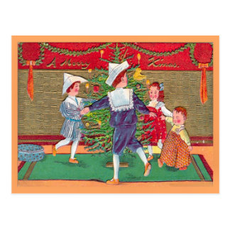 Vintage Christmas, Edwardian children dancing Postcard