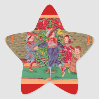 Vintage Christmas, Edwardian children dancing Star Sticker
