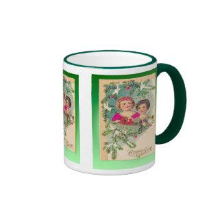 Vintage Christmas,  Edwardian children decorations Ringer Coffee Mug