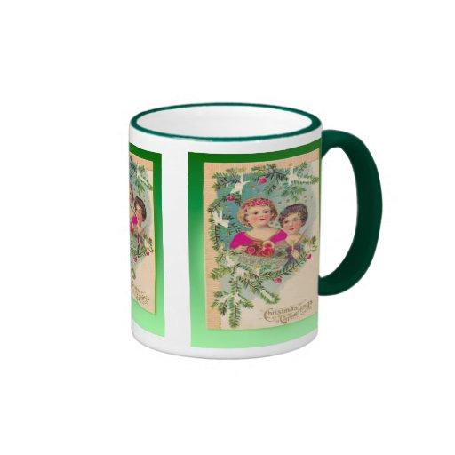 Vintage Christmas,  Edwardian children decorations Mugs