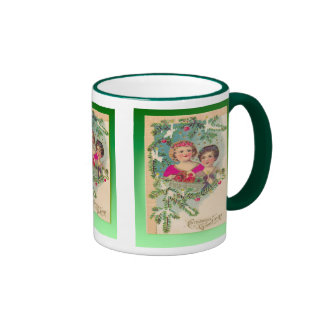 Vintage Christmas,  Edwardian children decorations Ringer Mug