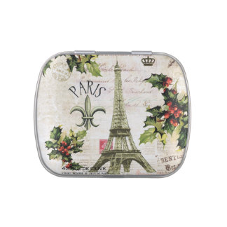 Vintage Christmas Eiffel Tower mint tin can Candy Tin