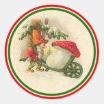 Vintage Christmas Elf 1910 Classic Round Sticker