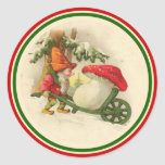 Vintage Christmas Elf 1910 Round Sticker