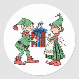 Vintage Christmas Elves Gift Giving Round Sticker