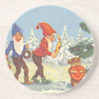 Vintage Christmas, Elves in the Snow Forest Winter Drink Coaster