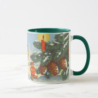 Vintage Christmas, Elves in the Snow Forest Winter Mug