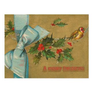 Vintage Christmas Envelope with Ribbon Postcard