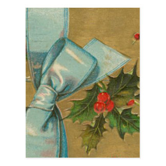 Vintage Christmas Envelope with Ribbon Postcard