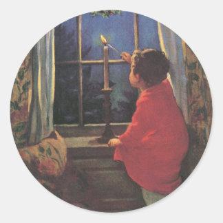 Vintage Christmas Eve by Jessie Willcox Smith Classic Round Sticker
