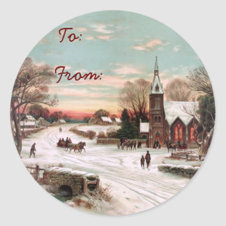 Vintage Christmas Eve Gift Tag Stickers
