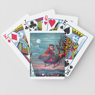 Vintage Christmas Eve Santa and Reindeer Bicycle Playing Cards