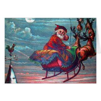 Vintage Christmas Eve Santa and Reindeer Card