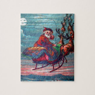 Vintage Christmas Eve Santa and Reindeer Jigsaw Puzzle