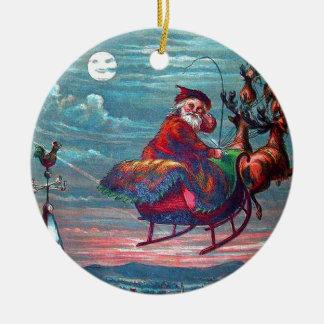 Vintage Christmas Eve Santa and Reindeer Round Ceramic Decoration