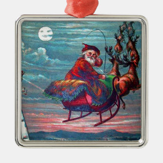 Vintage Christmas Eve Santa and Reindeer Silver-Colored Square Decoration