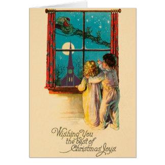 Vintage Christmas Eve Santa Christmas Card