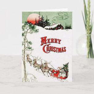 Vintage Christmas Eve Santa, Sleigh and Reindeer Holiday Card