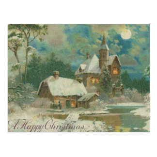 Vintage Christmas Eve Wintery Night Postcard