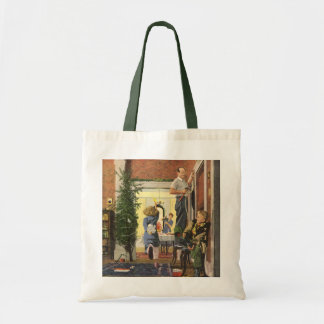 Vintage Christmas, Family Decorating the House Budget Tote Bag