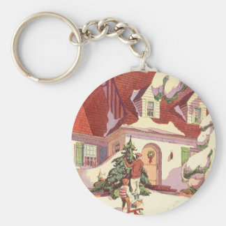 Vintage Christmas, Family House in the Snow Basic Round Button Key Ring
