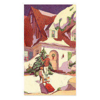 Vintage Christmas, Family House in the Snow Pack Of Standard Business Cards