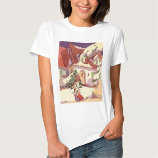 Vintage Christmas, Family House in the Snow Shirt