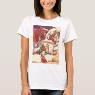 Vintage Christmas, Family House in the Snow T-Shirt