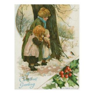 Vintage Christmas Family on Christmas Morning Postcard