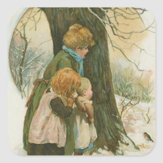 Vintage Christmas Family on Christmas Morning Square Sticker