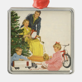 Vintage Christmas, Family Opening Gifts Christmas Tree Ornaments