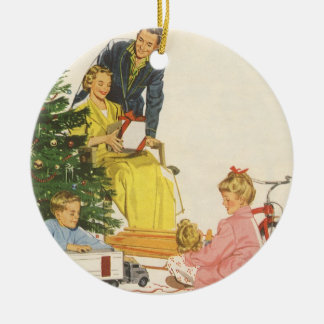 Vintage Christmas, Family Opening Presents Round Ceramic Decoration