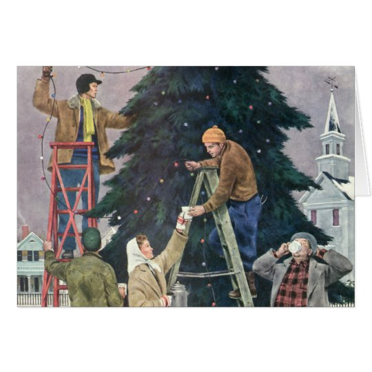 Vintage Christmas, Family Stringing Lights on Tree Card