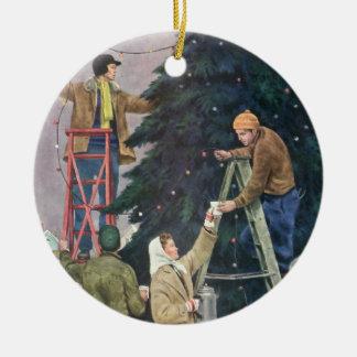 Vintage Christmas, Family Stringing Lights on Tree Round Ceramic Decoration