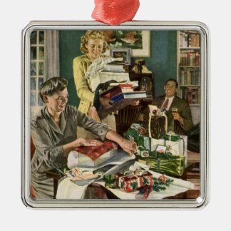 Vintage Christmas, Family Wrapping Presents Silver-Colored Square Decoration
