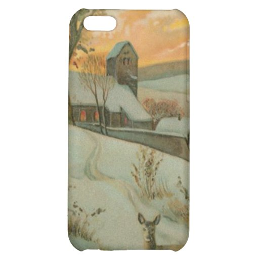 Vintage Christmas Farm with Deer iPhone 5C Case