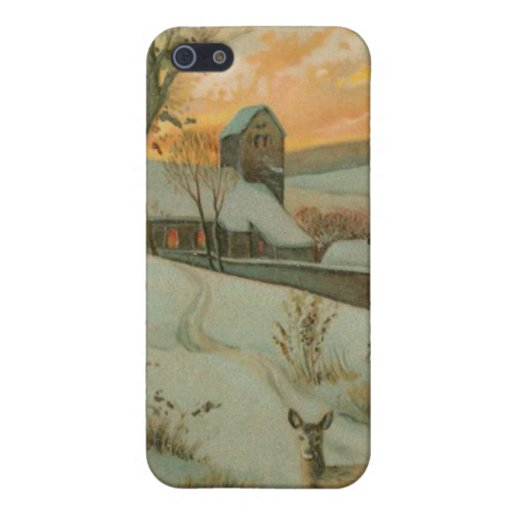 Vintage Christmas Farm with Deer Covers For iPhone 5