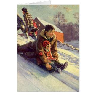 Vintage Christmas, Father and Daughter Sledding Card