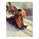 Vintage Christmas, Father and Daughter Sledding Postcards
