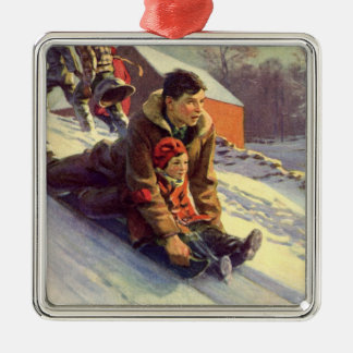 Vintage Christmas, Father and Daughter Sledding Silver-Colored Square Decoration
