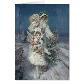 Vintage Christmas, Father Christmas, Angel, Custom Card